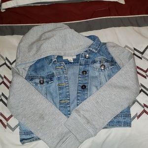 Set of 2 Hoodie zip-up sweatshirt & denim jacket